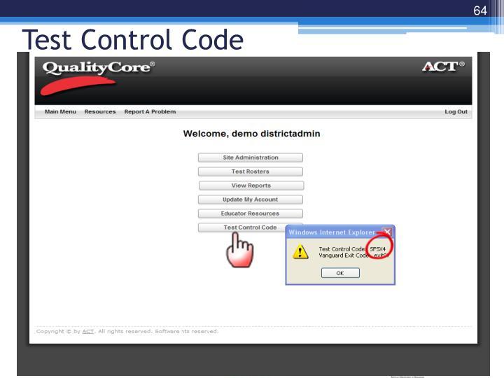 Test Control Code