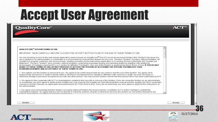 Accept User Agreement
