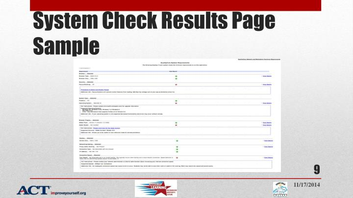 System Check Results Page Sample