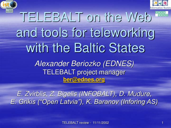 telebalt on the web and tools for teleworking with the baltic states n.