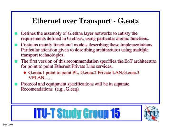 Ethernet over Transport - G.eota
