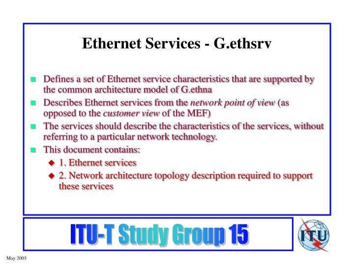 Ethernet Services - G.ethsrv