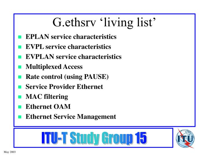 G.ethsrv 'living list'