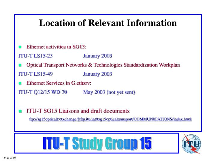 Location of relevant information