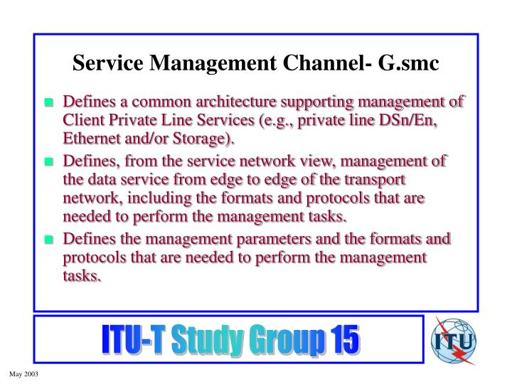 Service Management Channel- G.smc