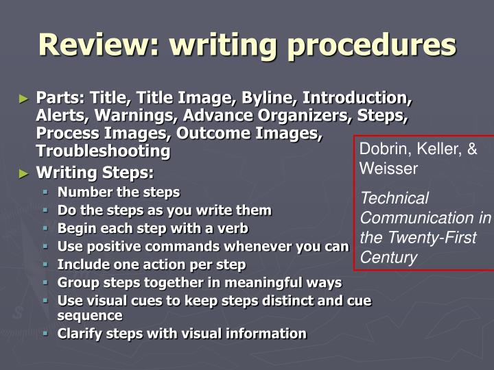 Review: writing procedures