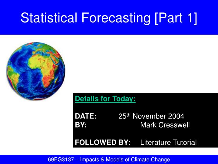 statistical forecasting part 1 n.
