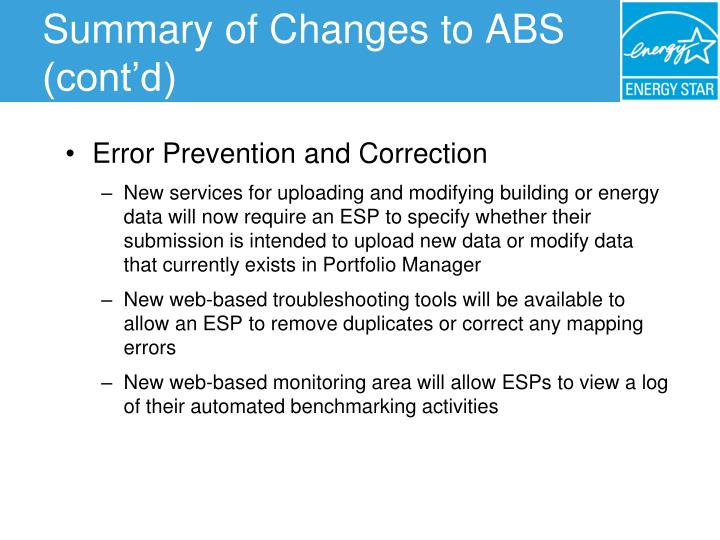 Summary of Changes to ABS (cont'd)