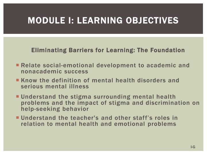 Module I: Learning Objectives