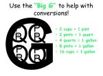 use the big g to help with conversions