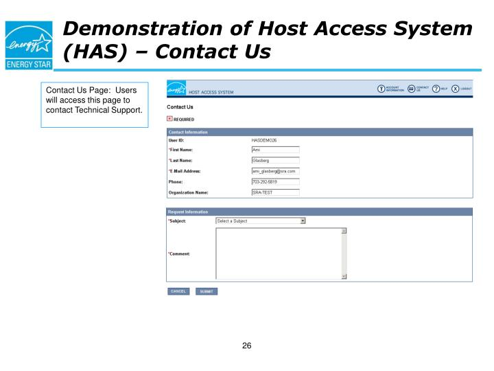 Demonstration of Host Access System (HAS) – Contact Us