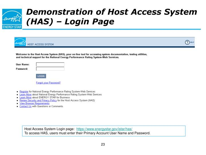 Demonstration of Host Access System (HAS) – Login Page