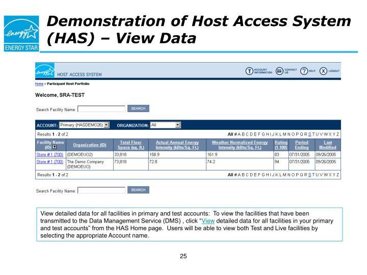 Demonstration of Host Access System (HAS) – View Data