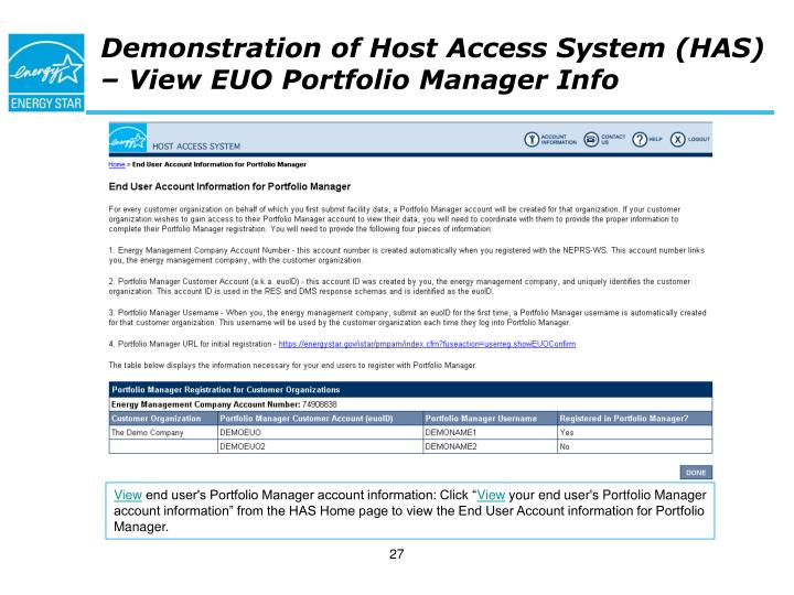 Demonstration of Host Access System (HAS) – View EUO Portfolio Manager Info