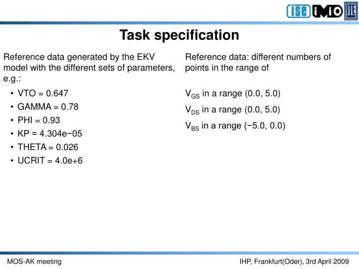 Task specification