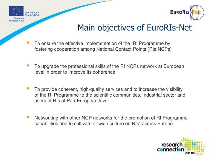 Main objectives of euroris net