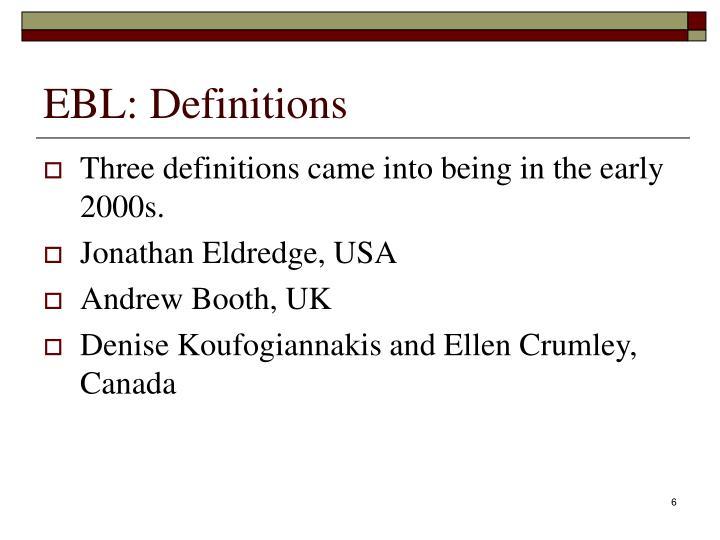 EBL: Definitions