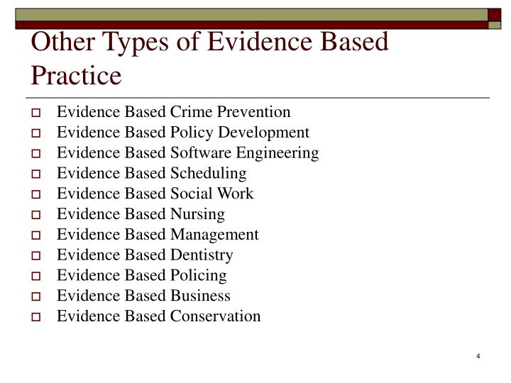 Other Types of Evidence Based Practice