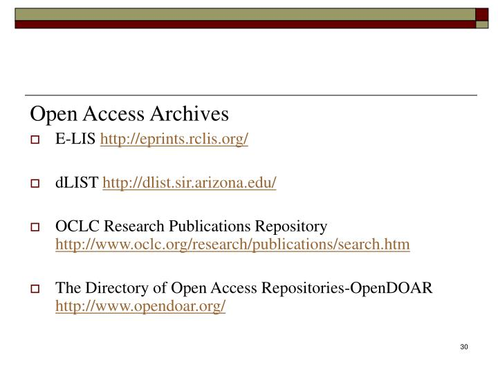 Open Access Archives