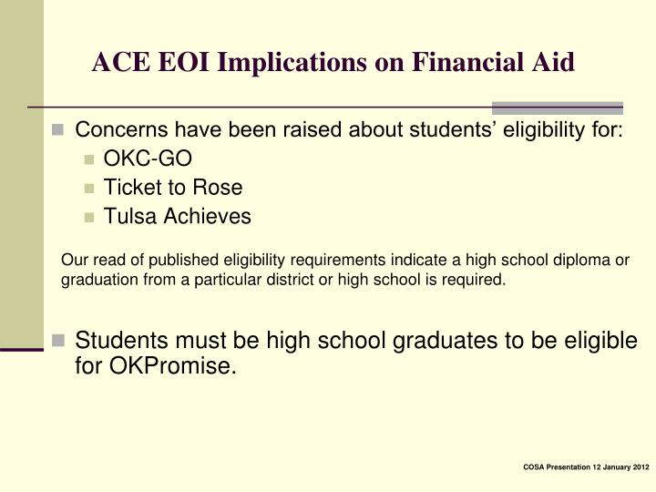 ACE EOI Implications on Financial Aid