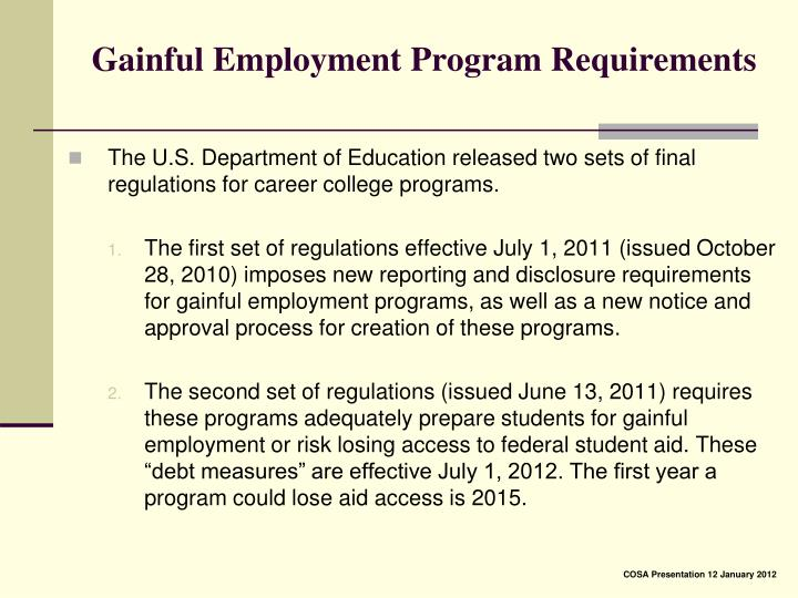 Gainful Employment Program Requirements