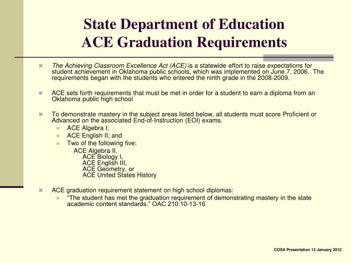 State department of education ace graduation requirements