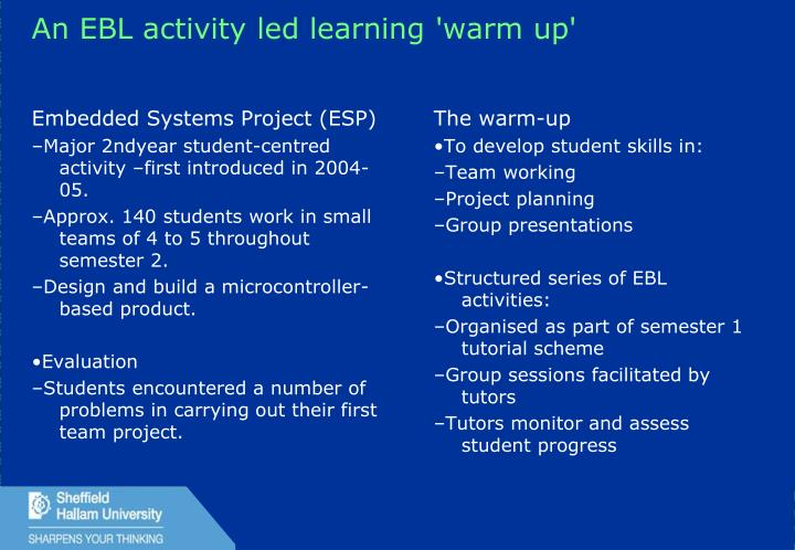 An EBL activity led learning 'warm up'