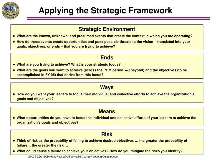 Applying the Strategic Framework