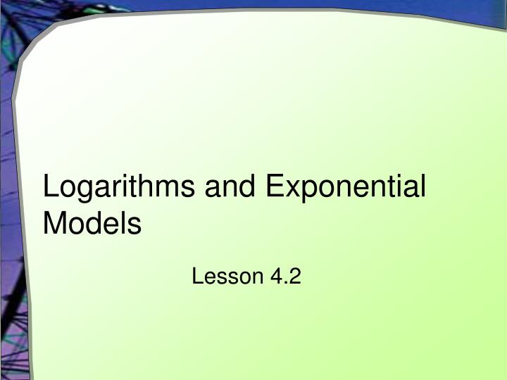 logarithms and exponential models n.