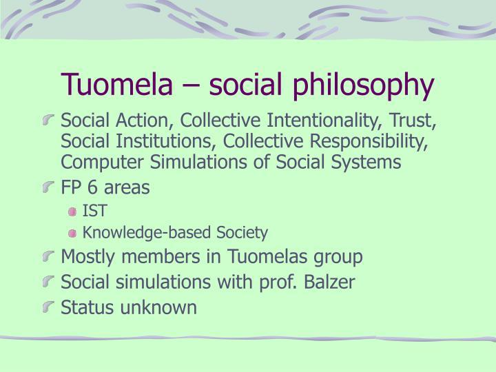 Tuomela – social philosophy