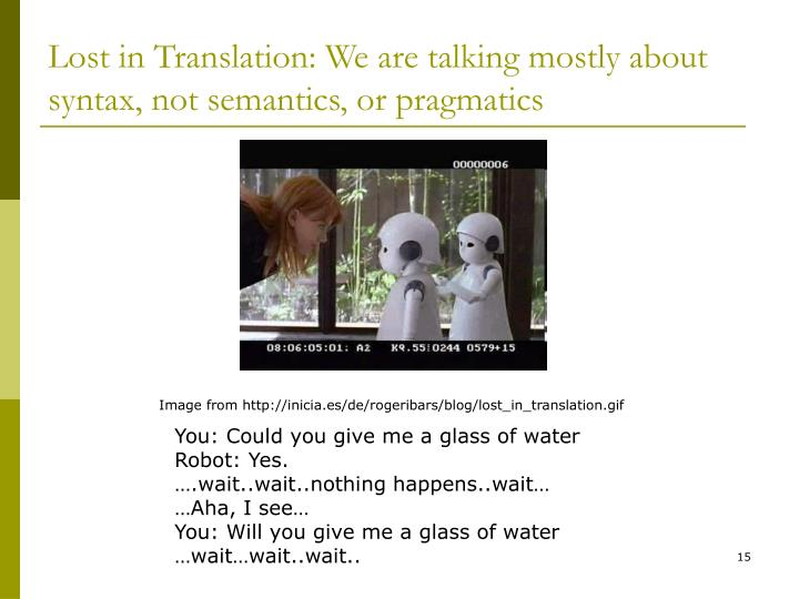 Lost in Translation: We are talking mostly about syntax, not semantics, or pragmatics