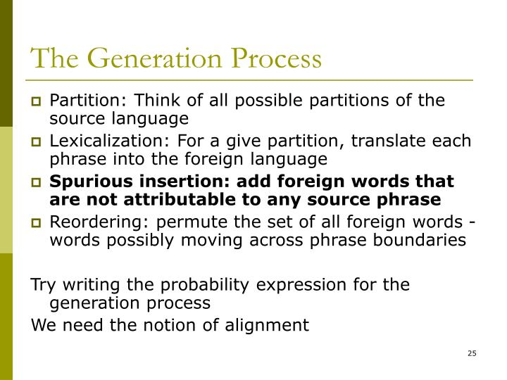 The Generation Process