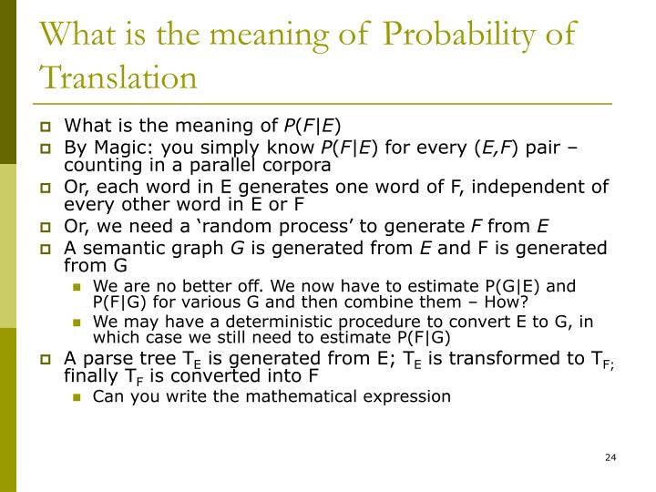 What is the meaning of Probability of Translation