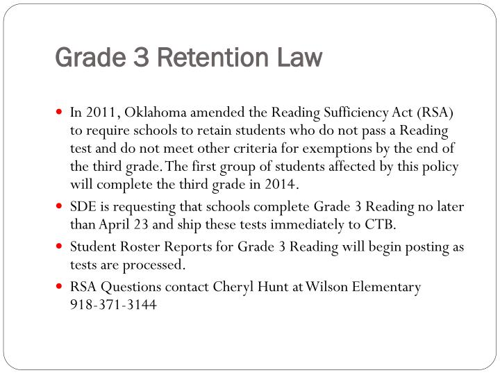 Grade 3 Retention Law