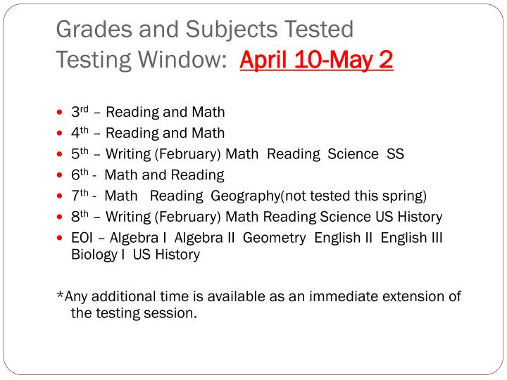Grades and Subjects Tested