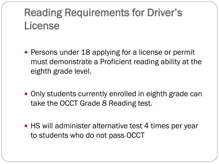 Reading Requirements for Driver's License
