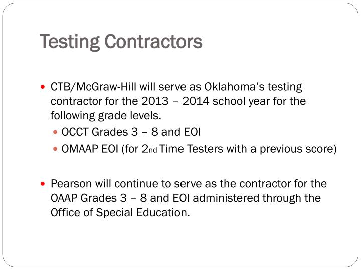 Testing contractors