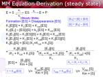 mm equation derivation steady state
