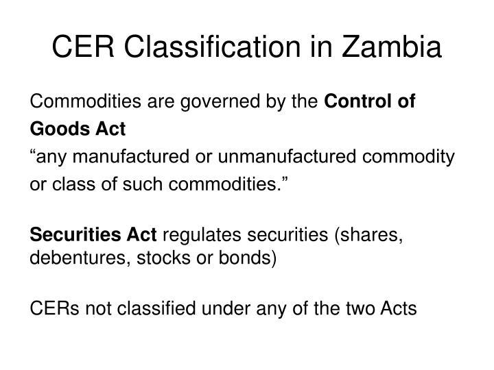 CER Classification in Zambia