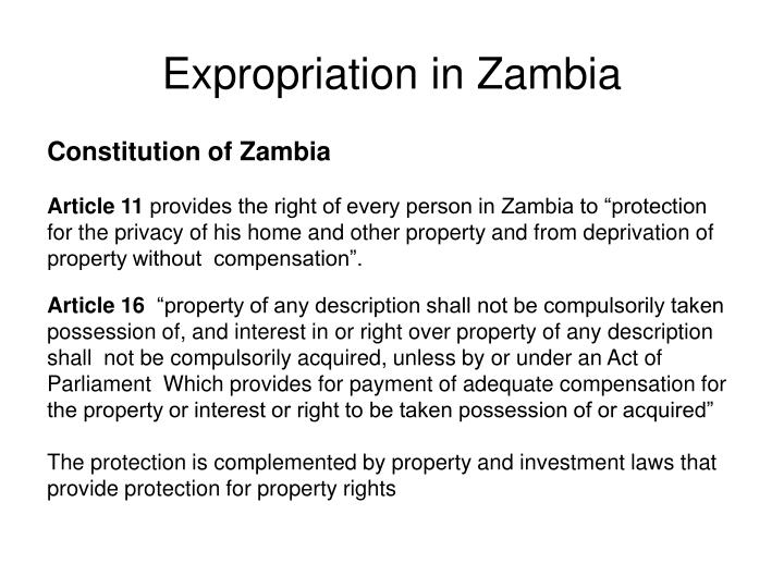 Expropriation in Zambia