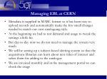 managing ebl at cern