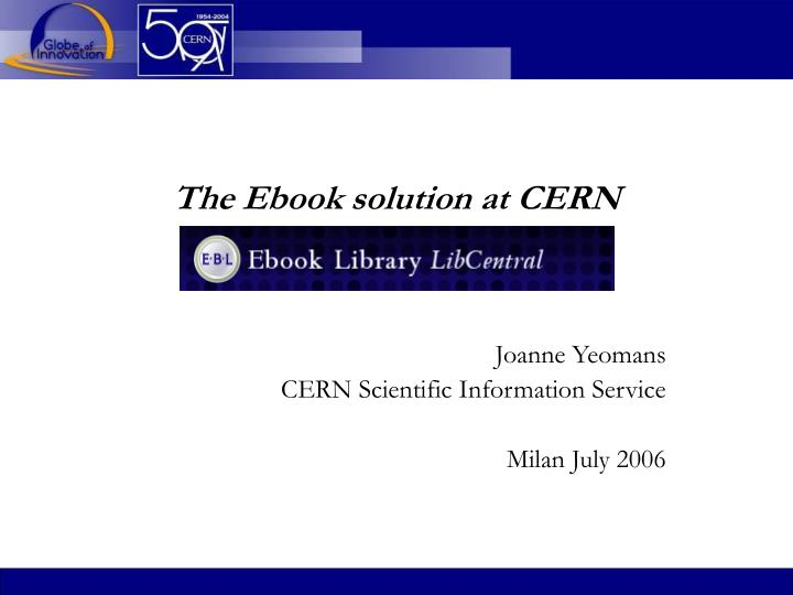 the ebook solution at cern n.