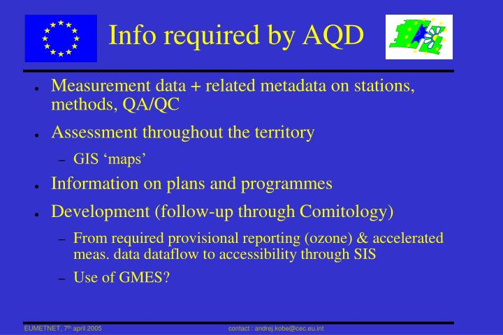 Info required by AQD