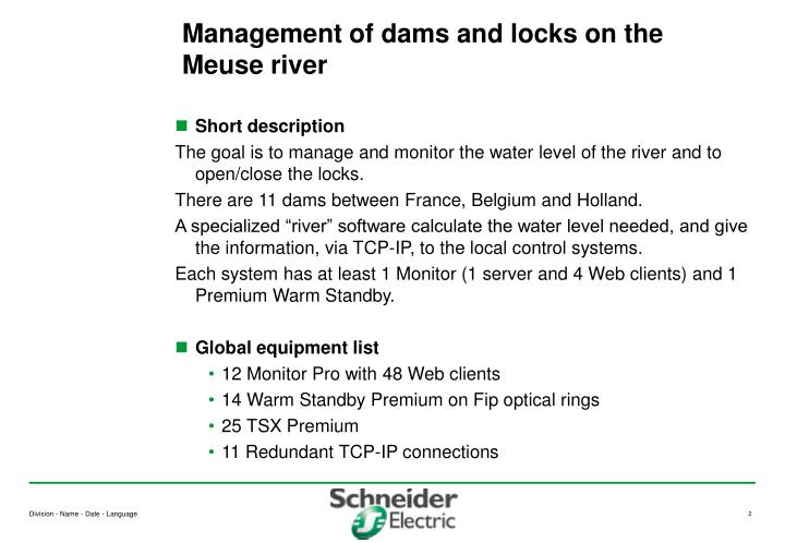 Management of dams and locks on the meuse river