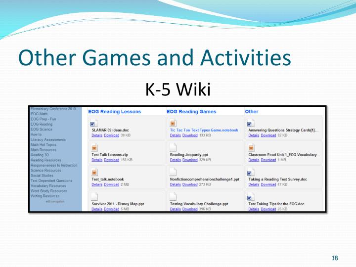 Other Games and Activities