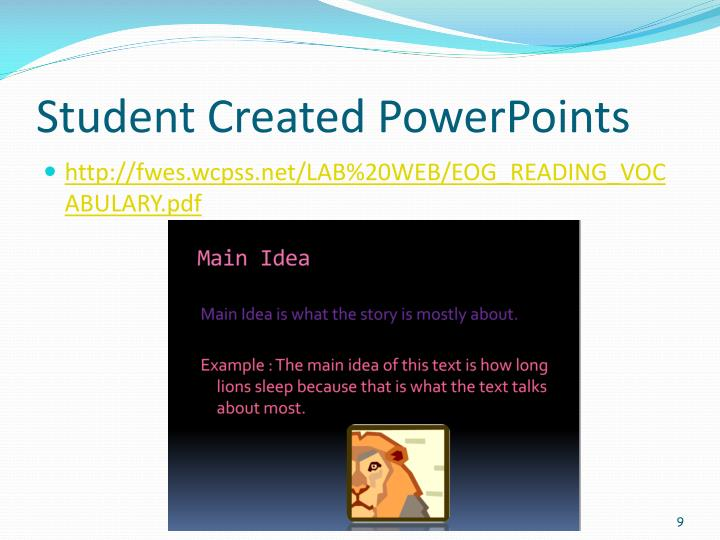 Student Created PowerPoints
