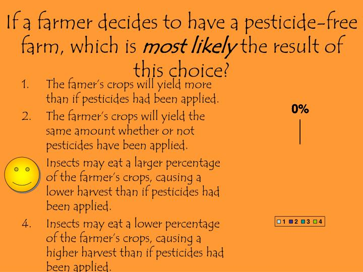 If a farmer decides to have a pesticide-free farm, which is