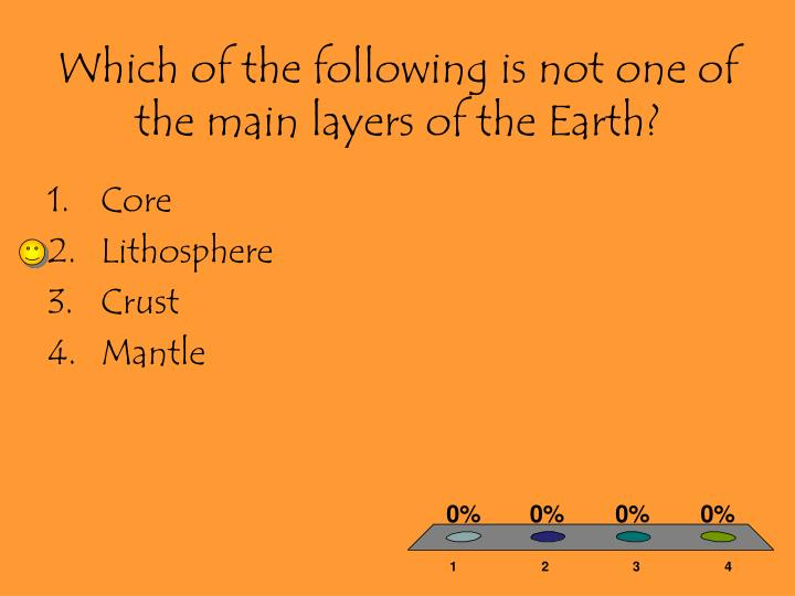 Which of the following is not one of the main layers of the Earth?