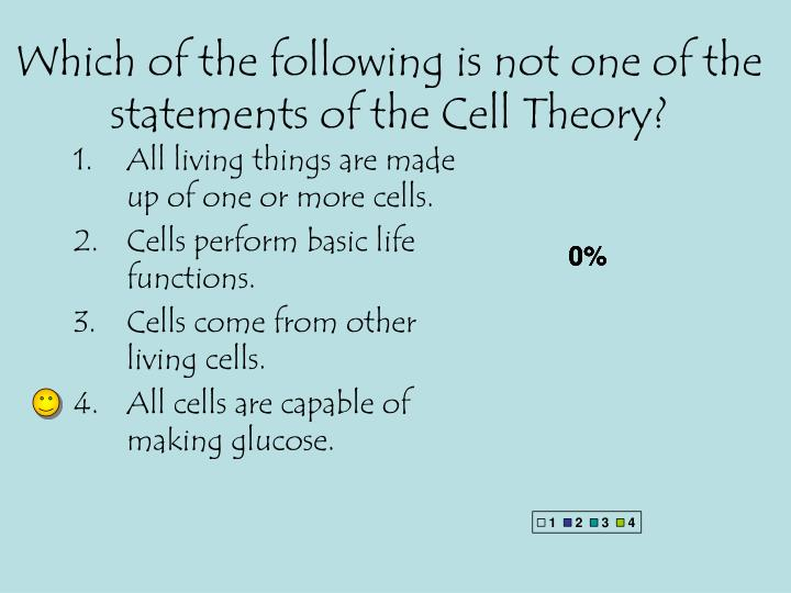 Which of the following is not one of the statements of the Cell Theory?