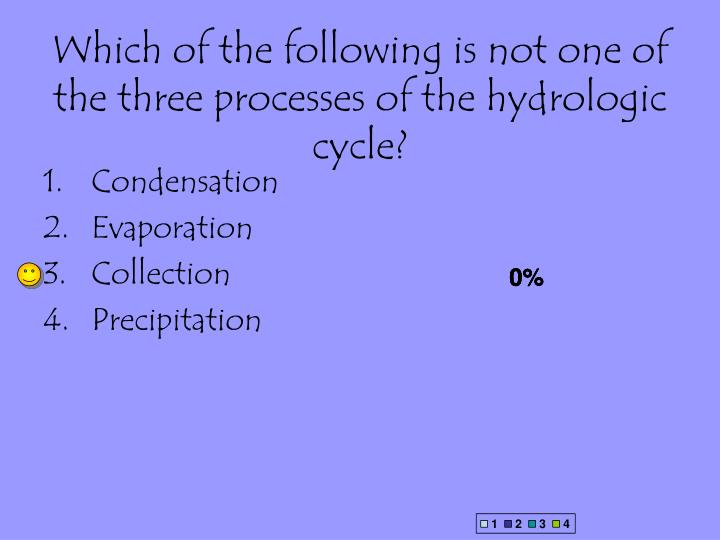 Which of the following is not one of the three processes of the hydrologic cycle?